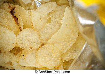 Inside bag of potato chips