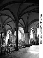 The crypt of canterbury cathedral in black & white