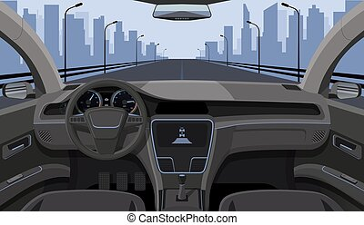 Inside car driver view with rudder, dashboard front panel and highway in windshield cartoon highway vector illustration