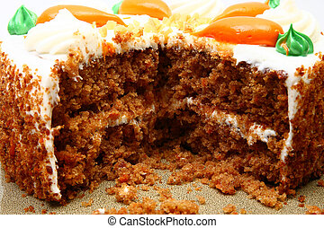 Inside Carrot Cake - Close up of inside of cut carrot cake.
