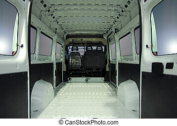 Inside commercial van