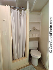 Inside Cottage Bathroom with Shower and Toilet