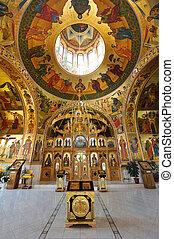 Inside Curchi Monastery, Orhei, Moldova, Europe