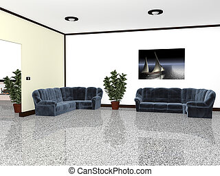 Inside furnished with chairs and plants 3d graphics
