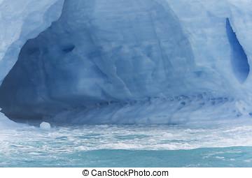 Inside glacial iceberg