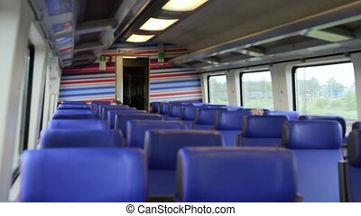 Inside High Speed Train - Seats in a suburban train in the...