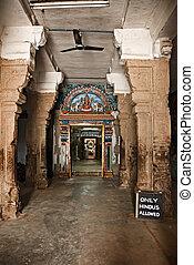 Inside Hindu temple. Sri Ranganathaswamy Temple....