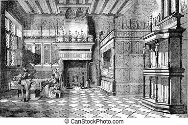 Inside houses in the Middle Ages, vintage engraving. -...