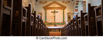 inside Mission Chapel - dramatic landscape inside the chapel...
