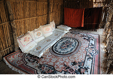 Inside of a bedouin tent, United Arab Emirates