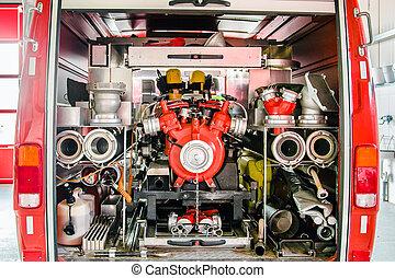 Inside of a fire truck