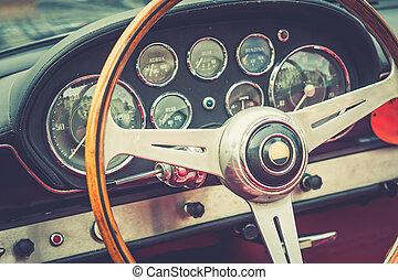 Inside of a luxury vintage car