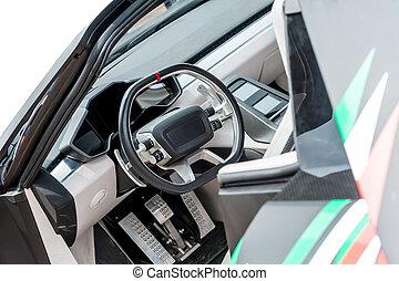 Inside of a modern luxury car