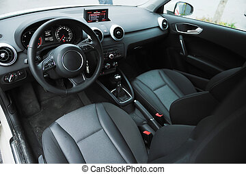 inside of brand new car vehicle with car navigation system