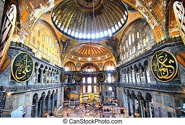 Inside of Hagia Sophia - The Hagia Sophia (also called Hagia...