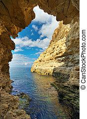 Inside of mainsail. Nature seascape composition