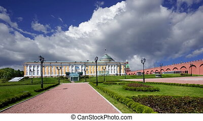 Inside of Moscow Kremlin, Russia (day), against the cloudy sky.