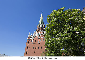 Inside of Moscow Kremlin, Russia (day). Troitskaya Tower (Trinity Tower)