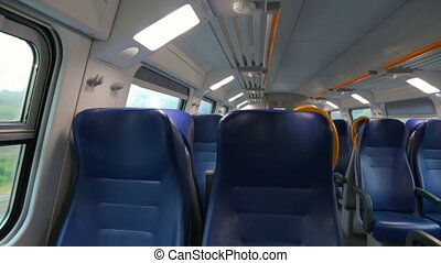 Inside of moving train