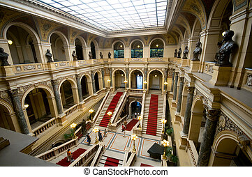 Inside of National Museum in Prague. Wide perspective