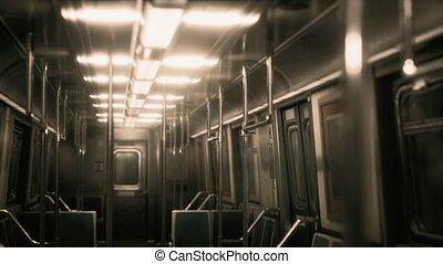 Inside of New York Subway empty car