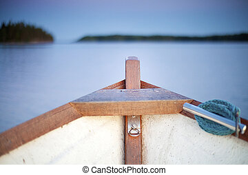 Inside of small boat on the lake