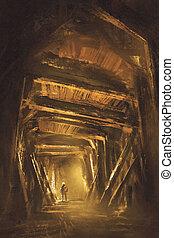 inside of the mine shaft,illustration,digital painting