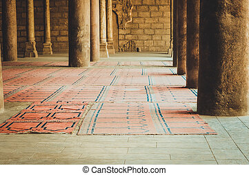 inside old mosque at cairo, egypt