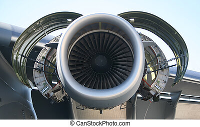 C-17 Military Aircraft Engine - Inside Opened C-17 Military...