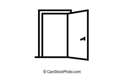 inside opened door animated black icon. inside opened door sign. isolated on white background