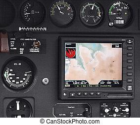 Inside pilot cockpit