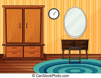 Inside a room with furniture