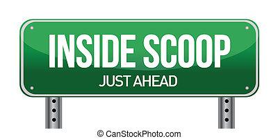 Inside Scoop Green Road Sign illustration design over white