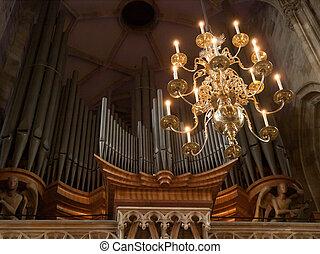 Inside St Stephens Cathedral, Vienna, Austria, huge organ in...