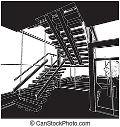 Inside Stair Space Vector