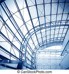 inside - Transparent glass ceiling, modern architectural...