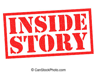 INSIDE STORY red Rubber Stamp over a white background.