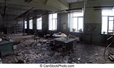 Inside the abandoned and ruined factory (production site, enterprise)