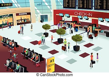 Inside the airport scene - A vector illustration of inside ...