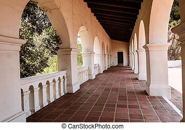 Inside the arches at the museum at Presidio Park in San Diego, CA.