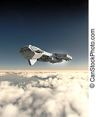 Inside the Atmosphere - Science fiction spaceship inside the...