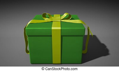 A 1080p HD Stock Video of a Present unwraping itself and opening with volume light shooting out as the camera comes in to the box full of white light.