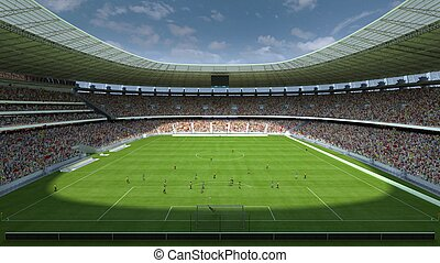 inside the football stadium 3d rendering