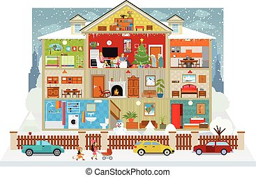 Vector illustration of cross section of the house (Christmas)