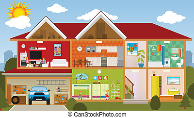 Vector illustration of the house (cross section of the house)