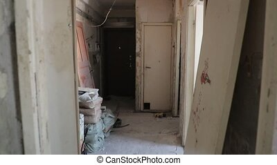 inside the premises where the repair work is taking place.