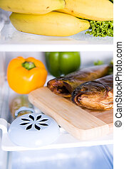 inside the refrigerator - different kind of food in the ...