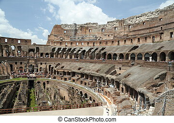 Inside the Roman Coliseum - Interior view of the Roman...
