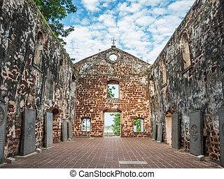 Inside the ruin of St Paul's Church in Malacca, Malaysia.
