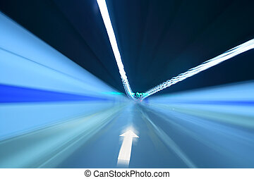 tunnel with forward arrow sign - inside the tunnel with...